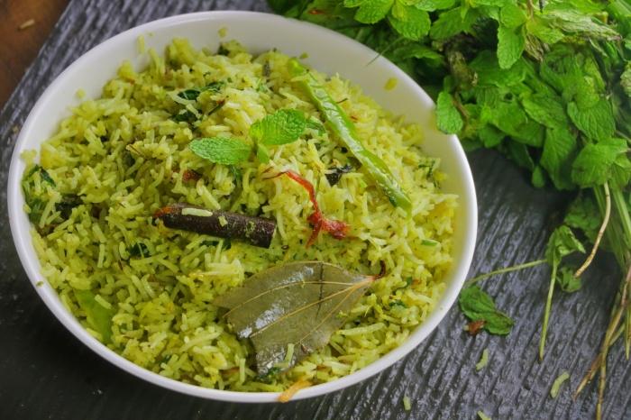 Pudina Rice | Mint Rice Pulao | How to make Pudina Pulao